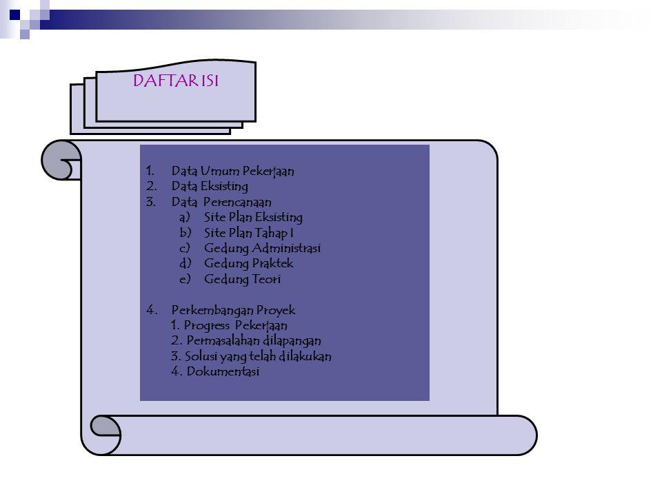 DAFTAR ISI Data Umum Pekerjaan Data Eksisting Data Perencanaan