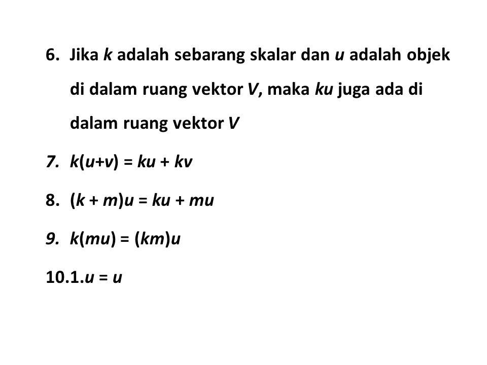 Jika k adalah sebarang skalar dan u adalah objek di dalam ruang vektor V, maka ku juga ada di dalam ruang vektor V