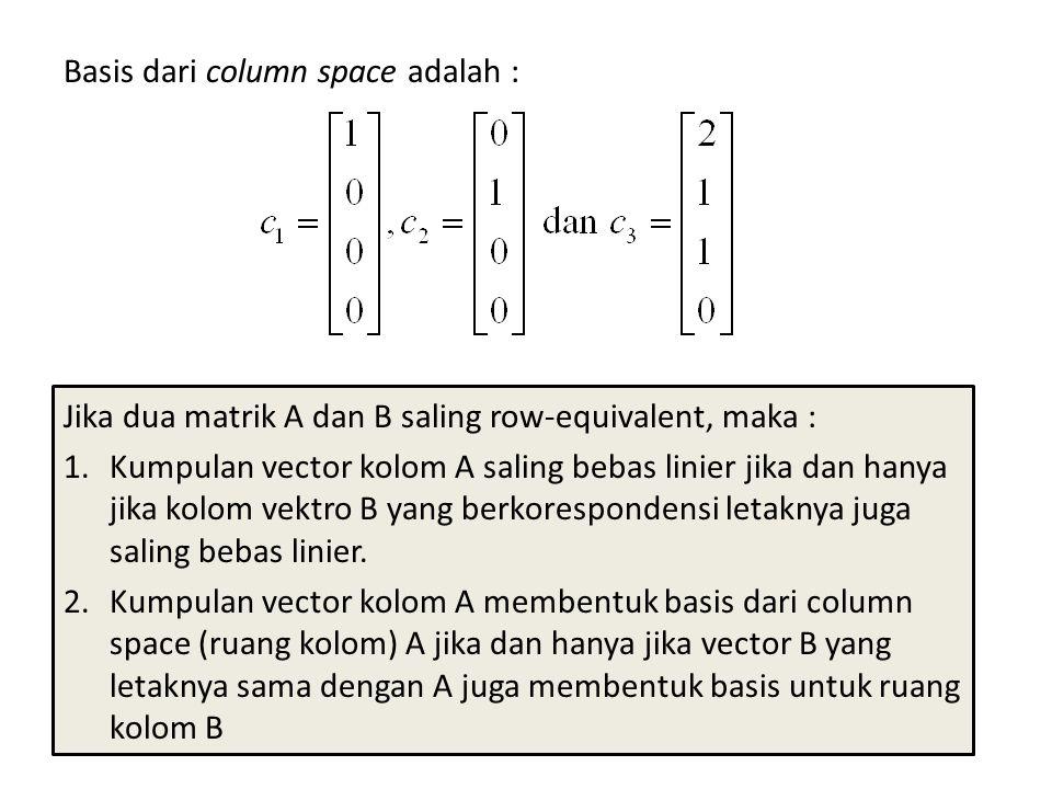 Basis dari column space adalah :