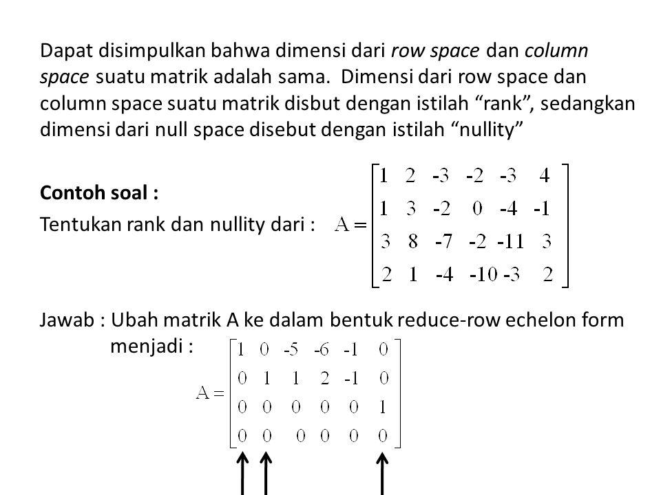 Dapat disimpulkan bahwa dimensi dari row space dan column space suatu matrik adalah sama.