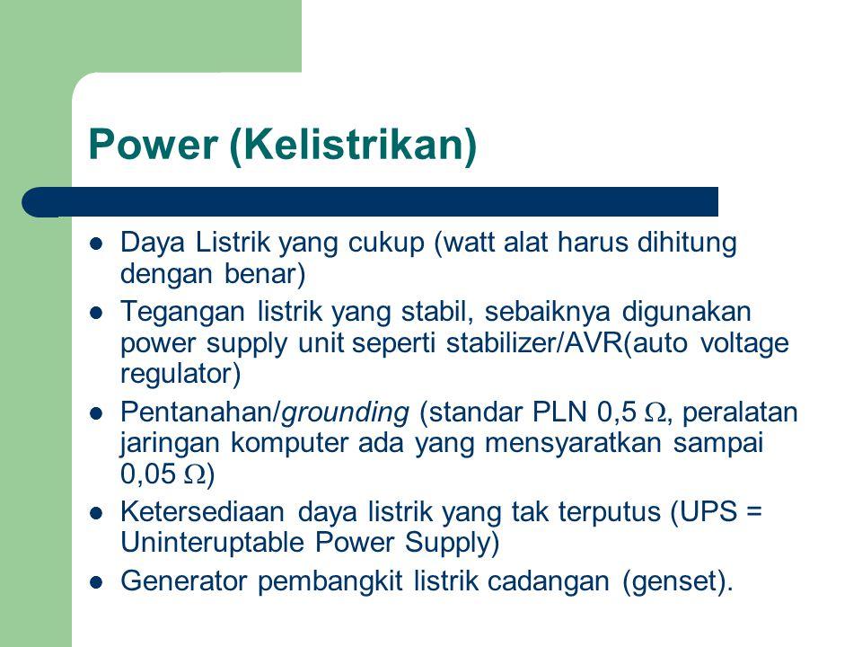 Power (Kelistrikan) Daya Listrik yang cukup (watt alat harus dihitung dengan benar)
