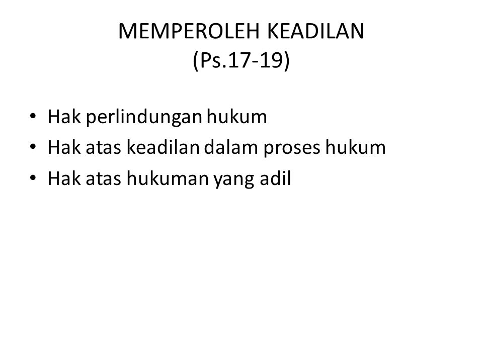MEMPEROLEH KEADILAN (Ps.17-19)