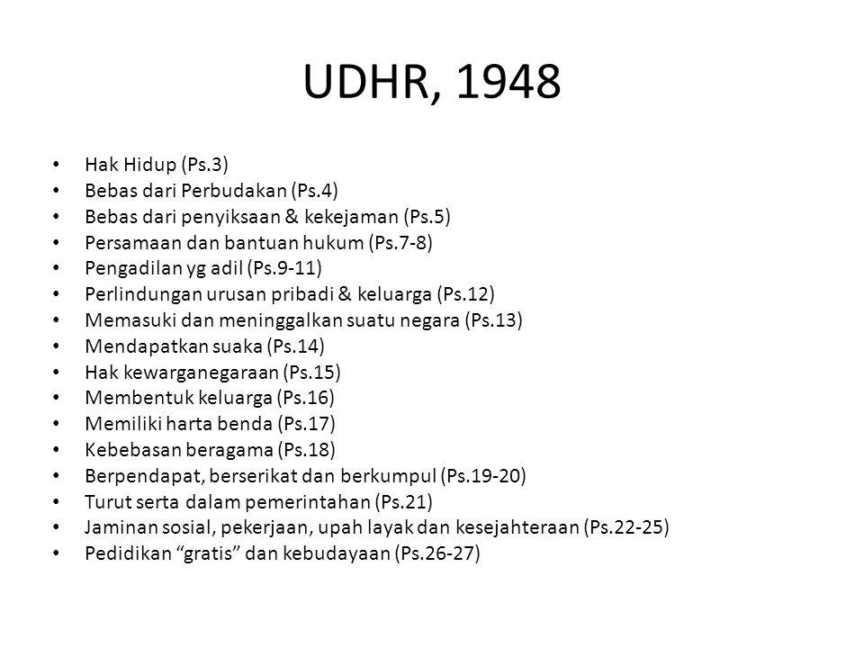 UDHR, 1948 Hak Hidup (Ps.3) Bebas dari Perbudakan (Ps.4)