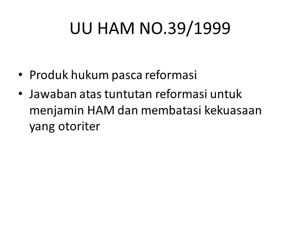 UU HAM NO.39/1999 Produk hukum pasca reformasi