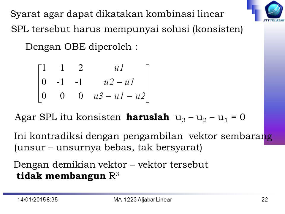 Syarat agar dapat dikatakan kombinasi linear