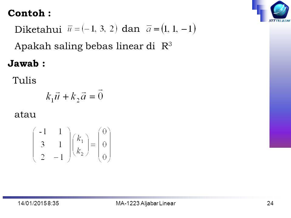 Apakah saling bebas linear di R3