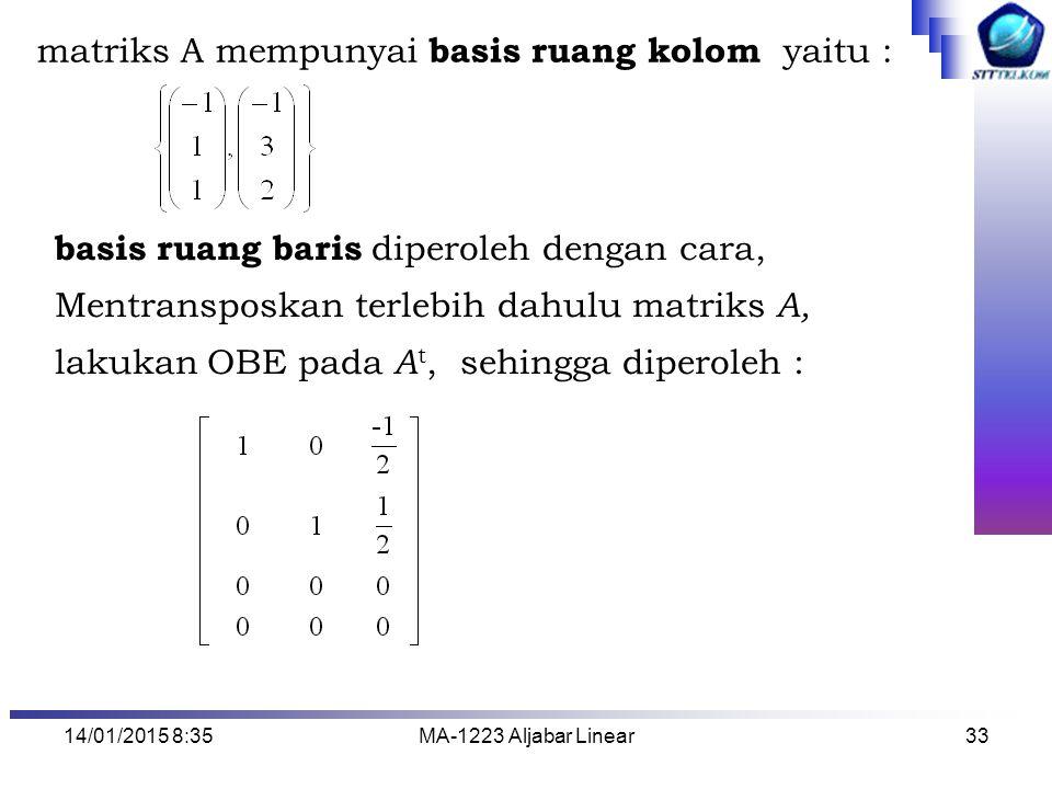 matriks A mempunyai basis ruang kolom yaitu :