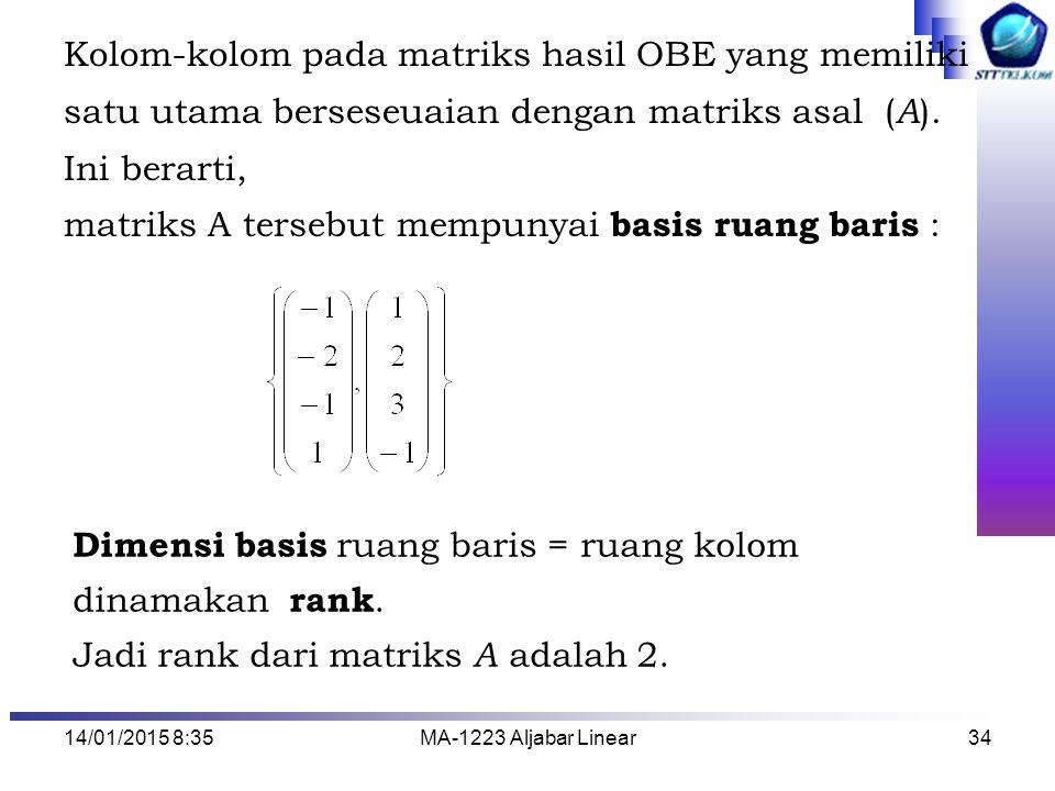 Kolom-kolom pada matriks hasil OBE yang memiliki
