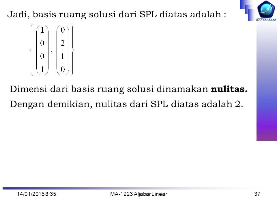 Jadi, basis ruang solusi dari SPL diatas adalah :