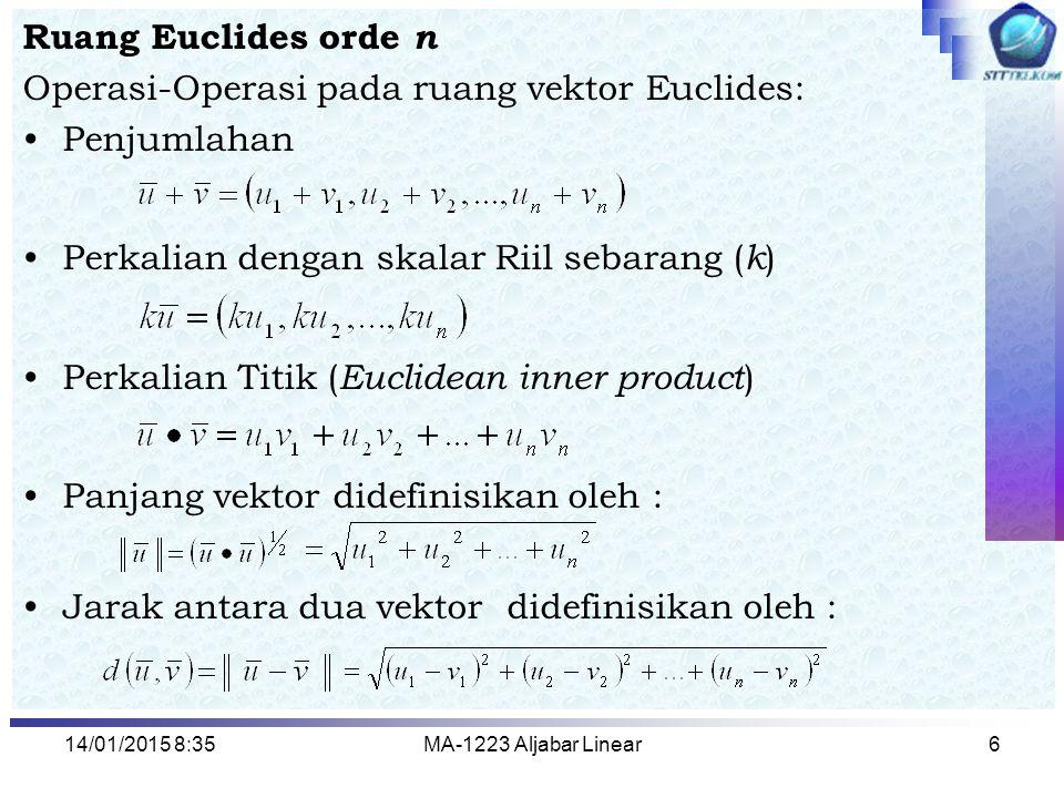 Operasi-Operasi pada ruang vektor Euclides: Penjumlahan