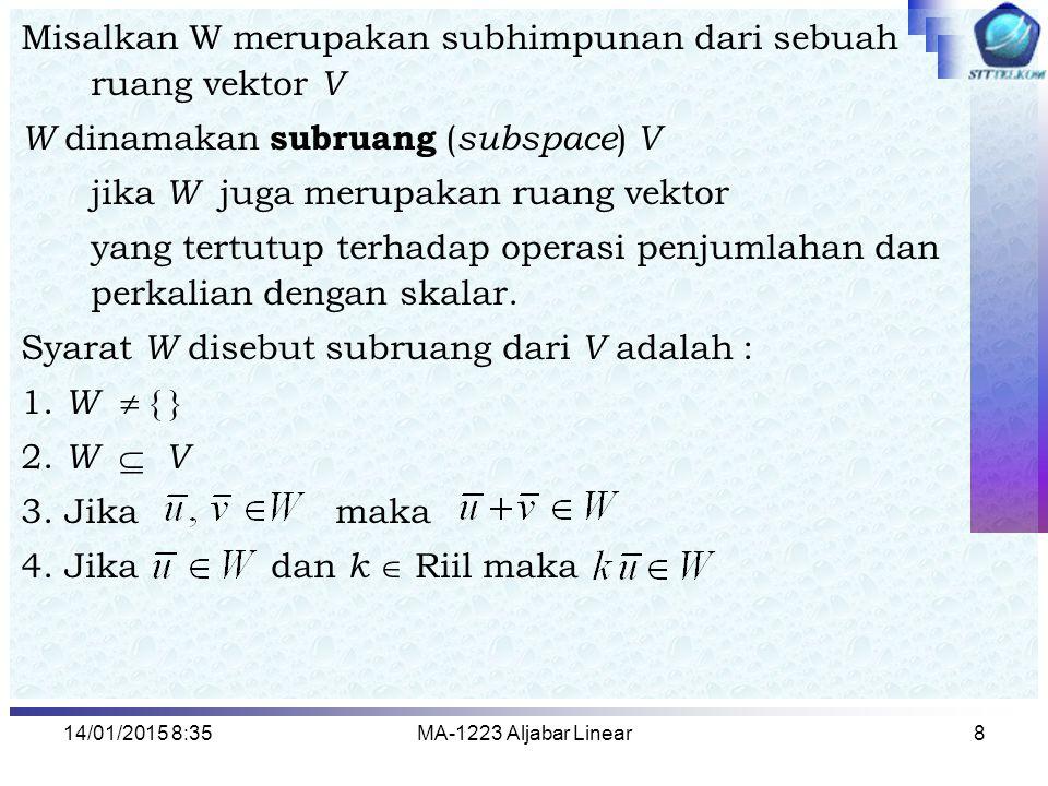 Misalkan W merupakan subhimpunan dari sebuah ruang vektor V