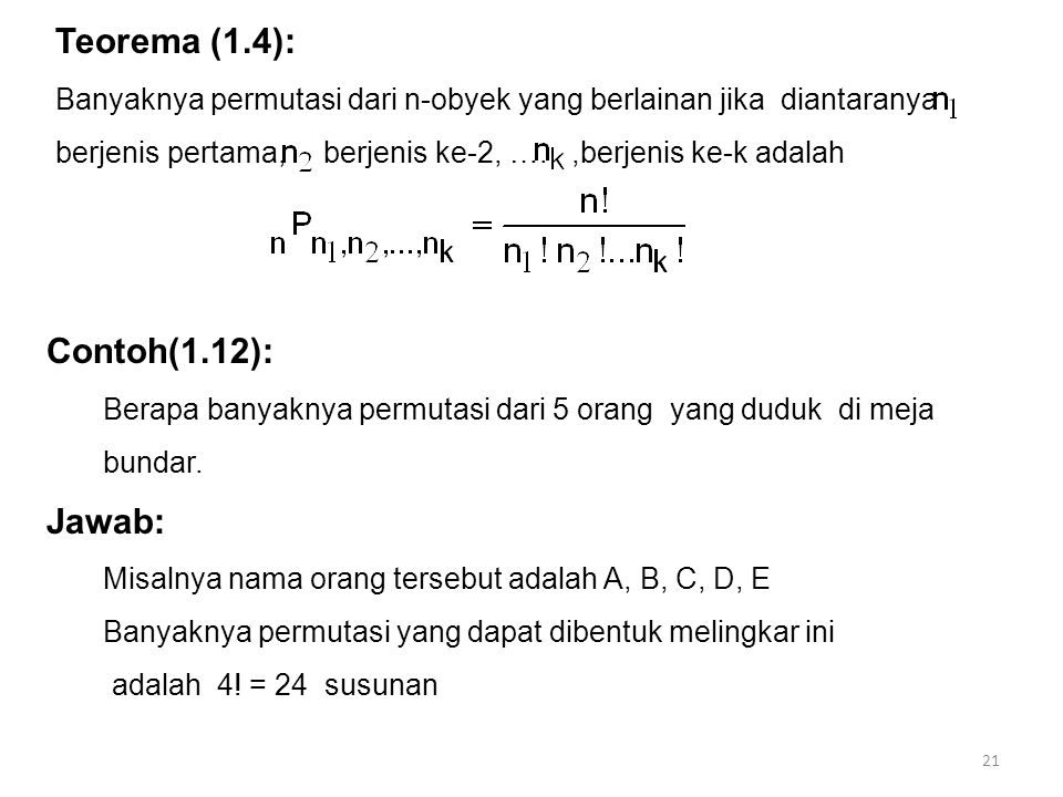 Teorema (1.4): Contoh(1.12): Jawab: