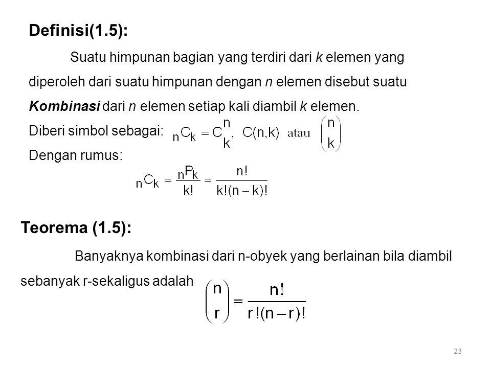Definisi(1.5): Teorema (1.5):