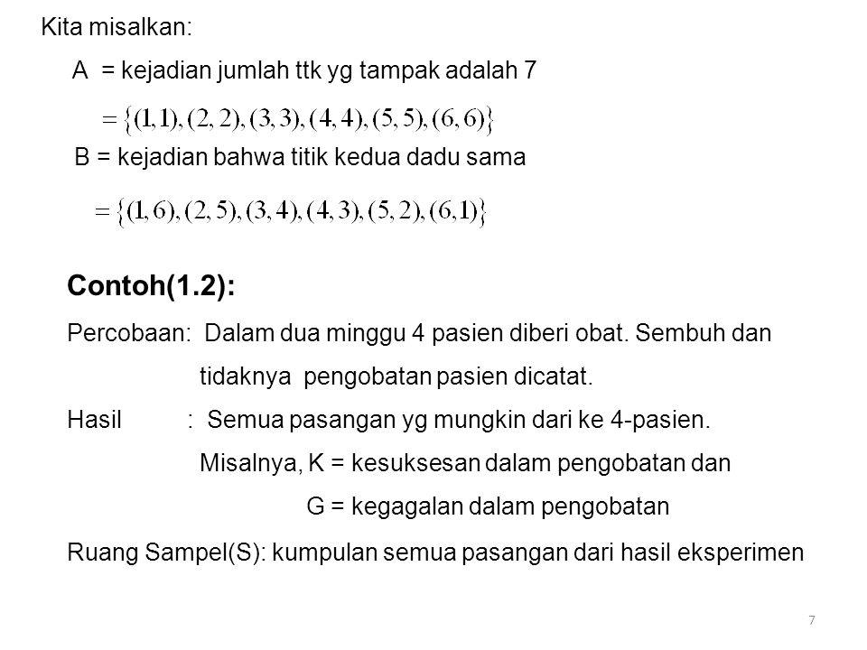 Contoh(1.2): Kita misalkan: A = kejadian jumlah ttk yg tampak adalah 7