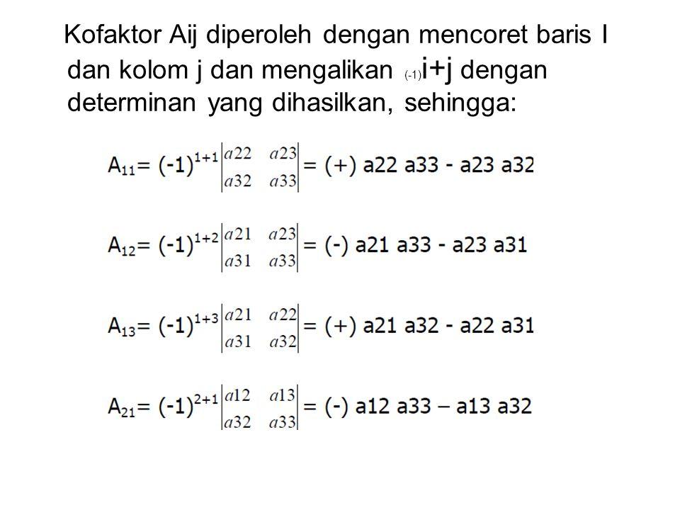 Kofaktor Aij diperoleh dengan mencoret baris I dan kolom j dan mengalikan (-1)i+j dengan determinan yang dihasilkan, sehingga: