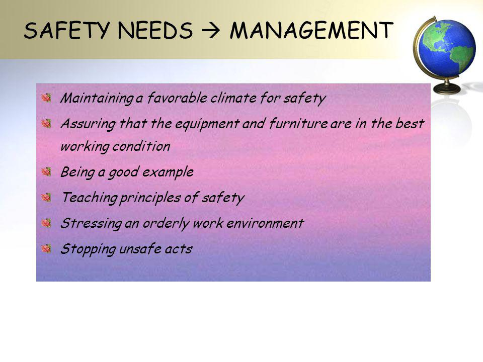 SAFETY NEEDS  MANAGEMENT