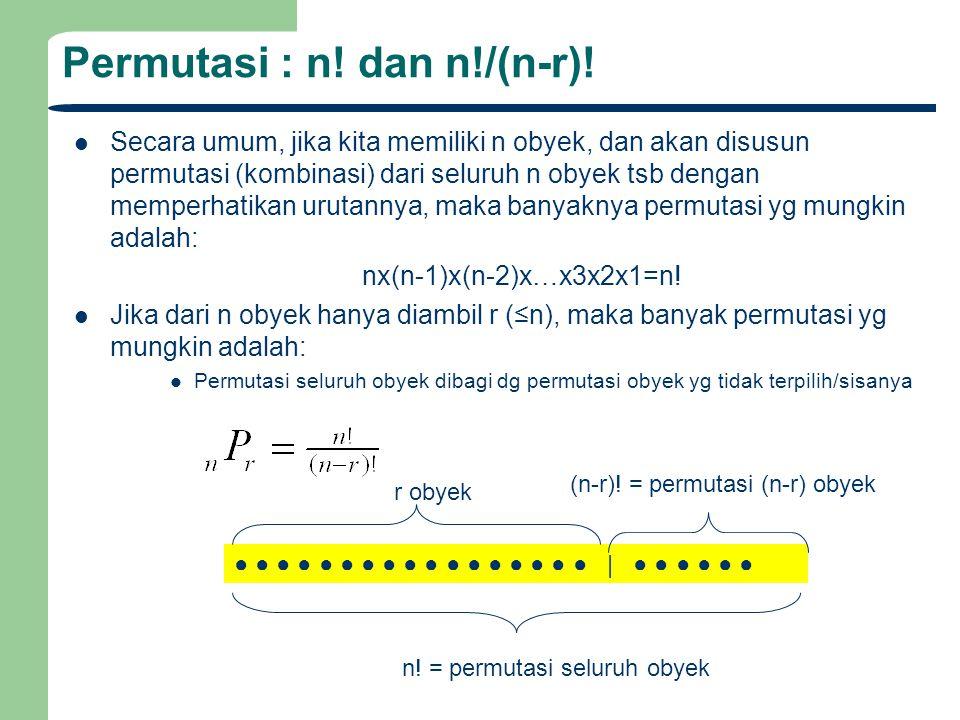 Permutasi : n! dan n!/(n-r)!