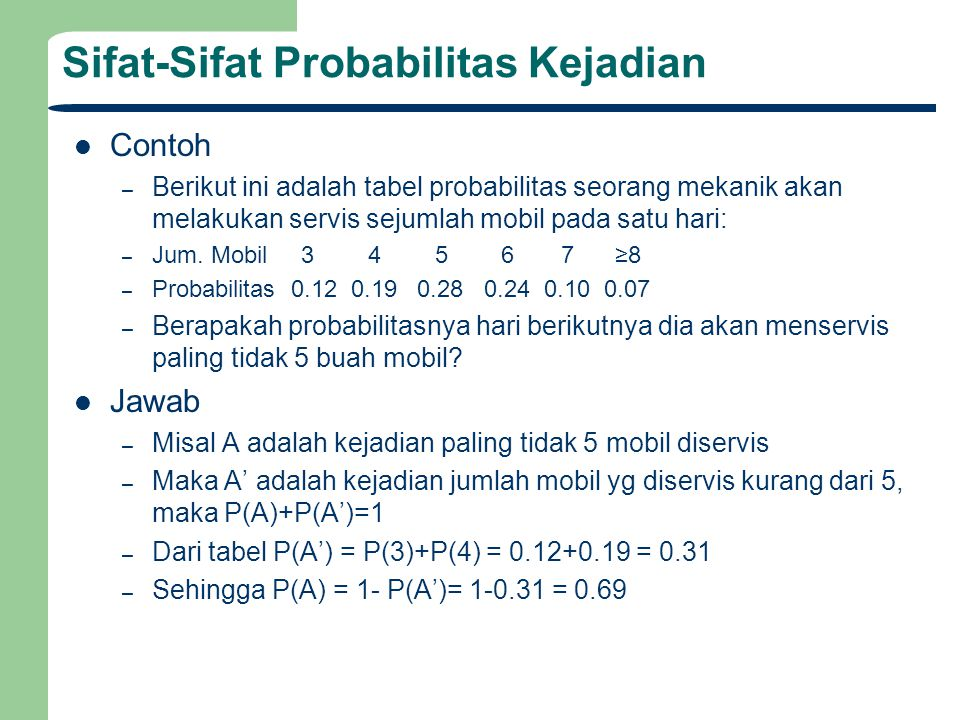 Sifat-Sifat Probabilitas Kejadian