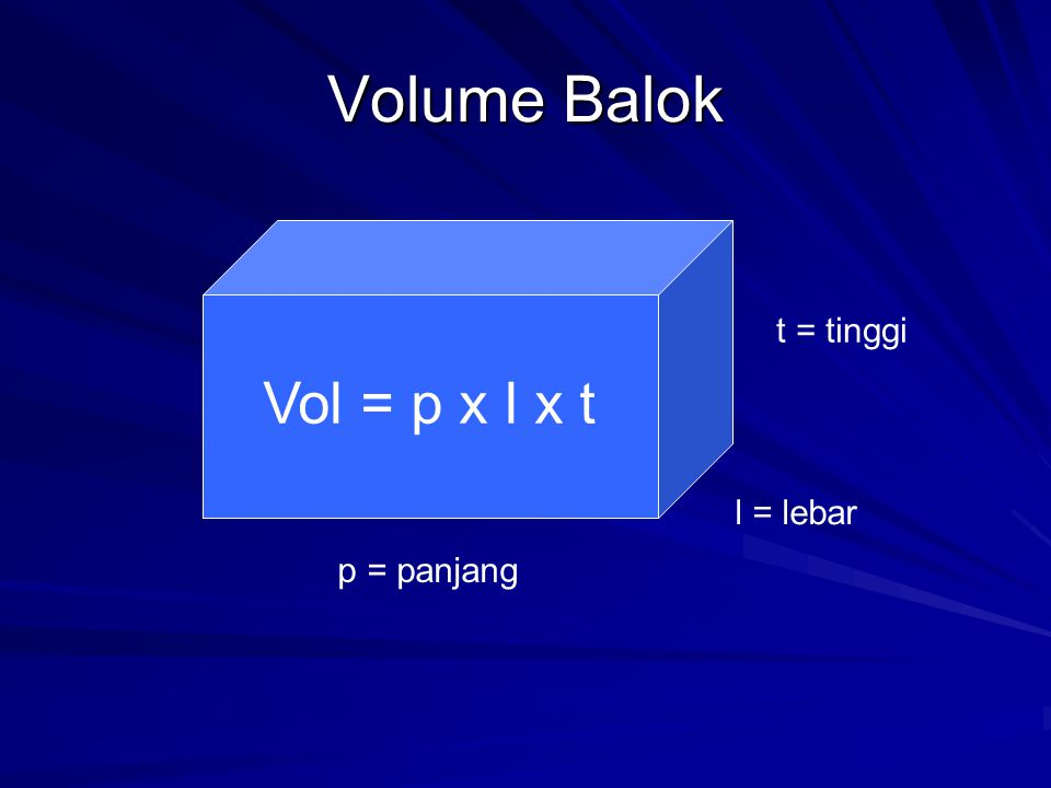 Volume Balok t = tinggi Vol = p x l x t l = lebar p = panjang