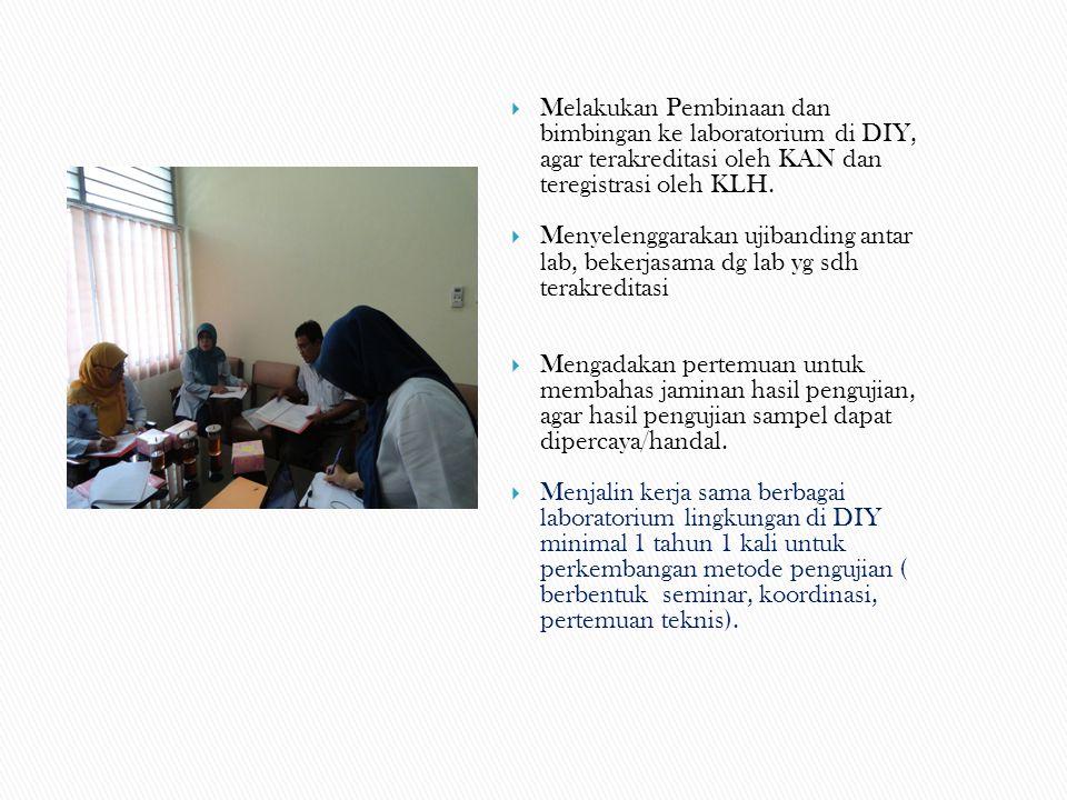 Melakukan Pembinaan dan bimbingan ke laboratorium di DIY, agar terakreditasi oleh KAN dan teregistrasi oleh KLH.