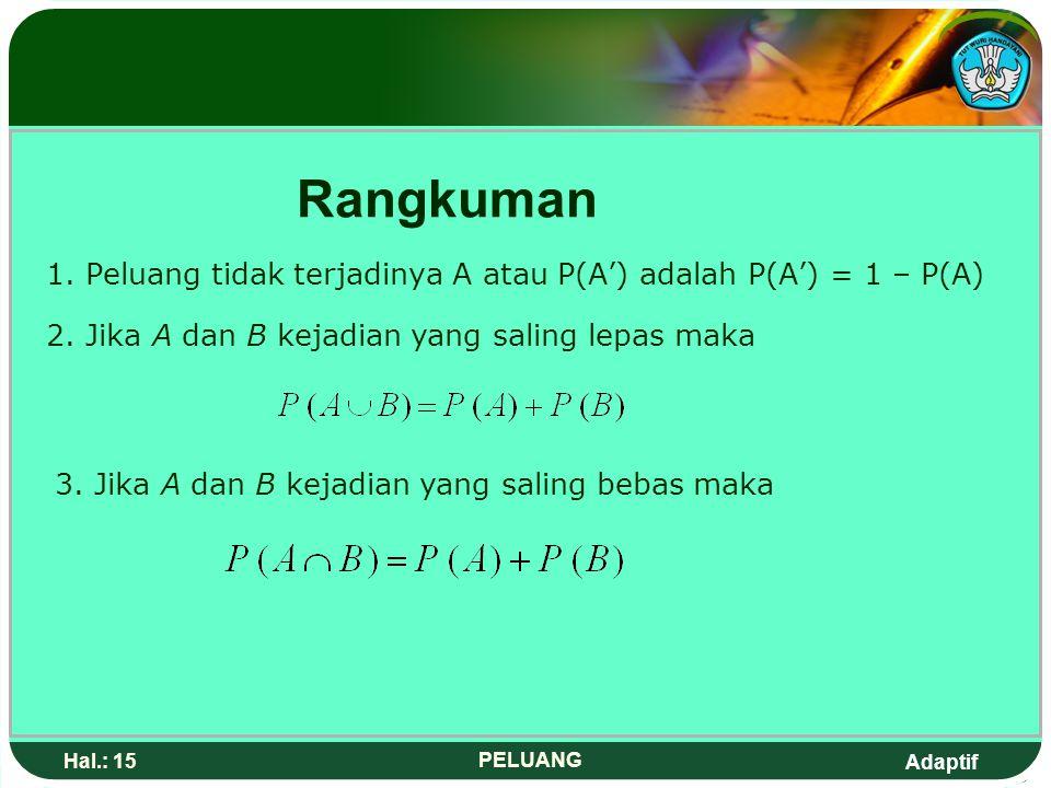Rangkuman 1. Peluang tidak terjadinya A atau P(A') adalah P(A') = 1 – P(A) 2. Jika A dan B kejadian yang saling lepas maka.