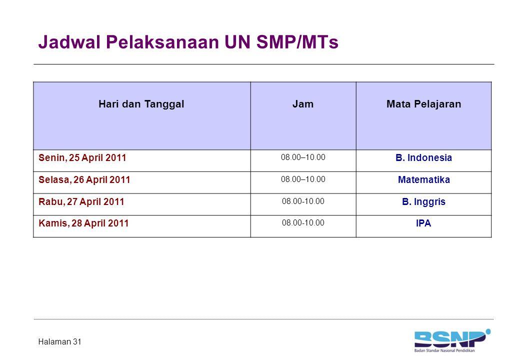 Jadwal Pelaksanaan UN SD/MI