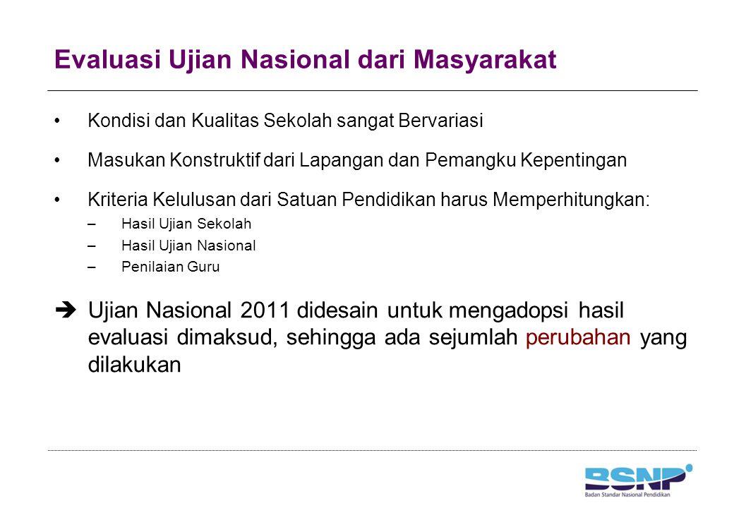 Ujian Nasional 2011 UN Tahun Pelajaran 2011/2011 dilaksanakan satu kali. Tidak ada UN Ulangan. UN Susulan dilaksanakan satu minggu setelah UN Utama.