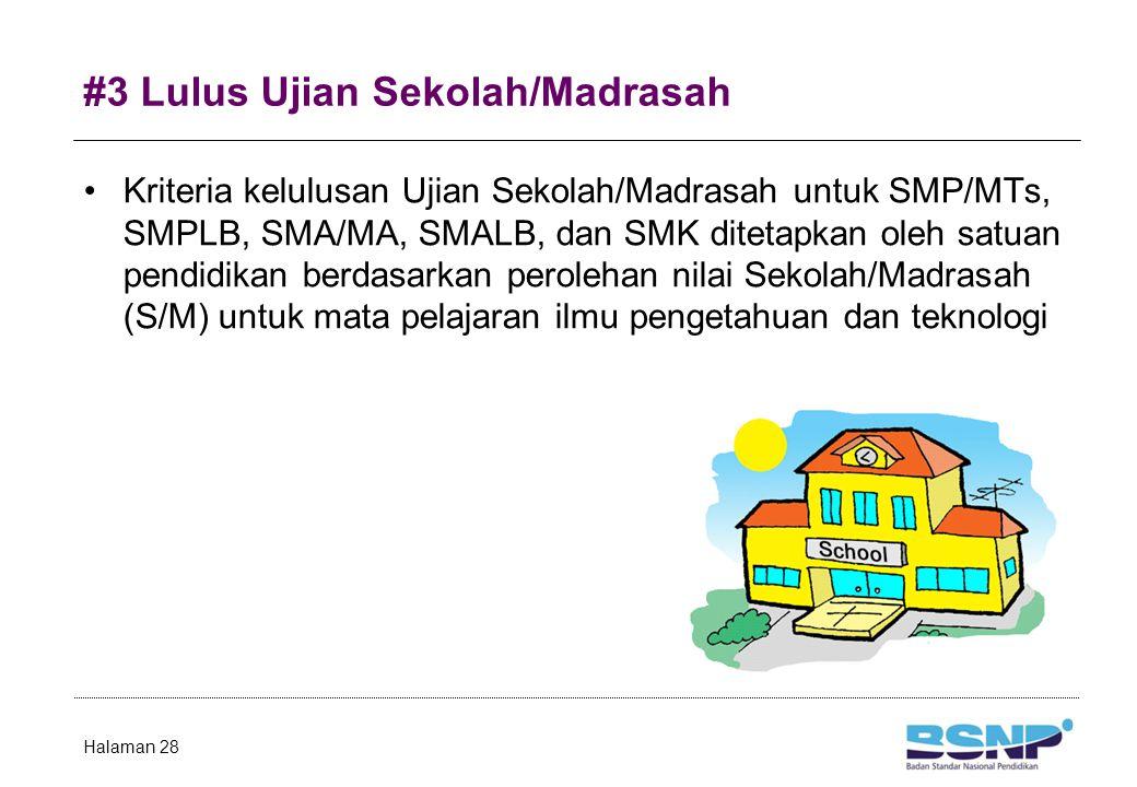 #4 Lulus Ujian Nasional Nilai Sekolah/Madrasah (satuan pendidikan) adalah: