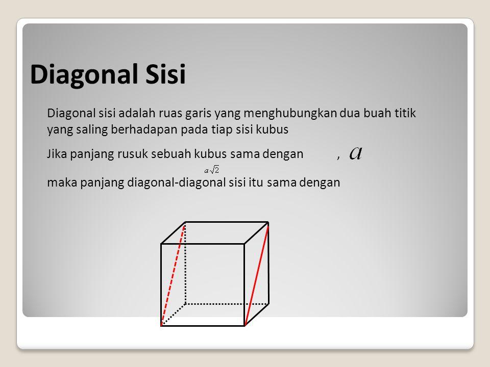 Diagonal Sisi Diagonal sisi adalah ruas garis yang menghubungkan dua buah titik yang saling berhadapan pada tiap sisi kubus.