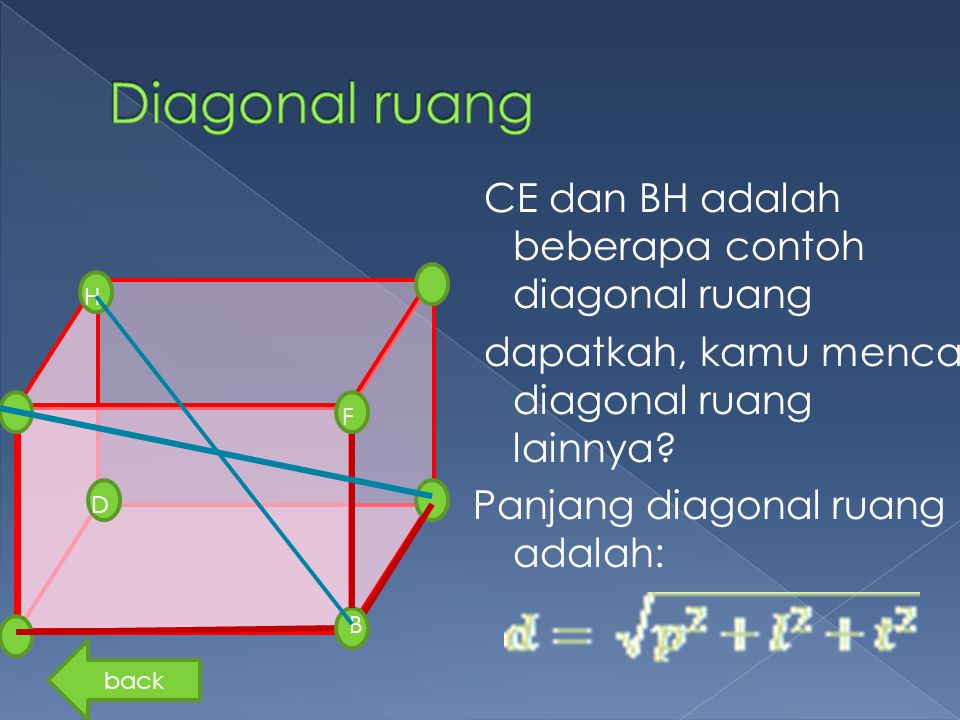 Diagonal ruang CE dan BH adalah beberapa contoh diagonal ruang dapatkah, kamu mencari diagonal ruang lainnya Panjang diagonal ruang adalah: