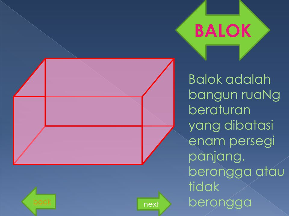 BALOK Balok adalah bangun ruaNg beraturan yang dibatasi enam persegi panjang, berongga atau tidak berongga.