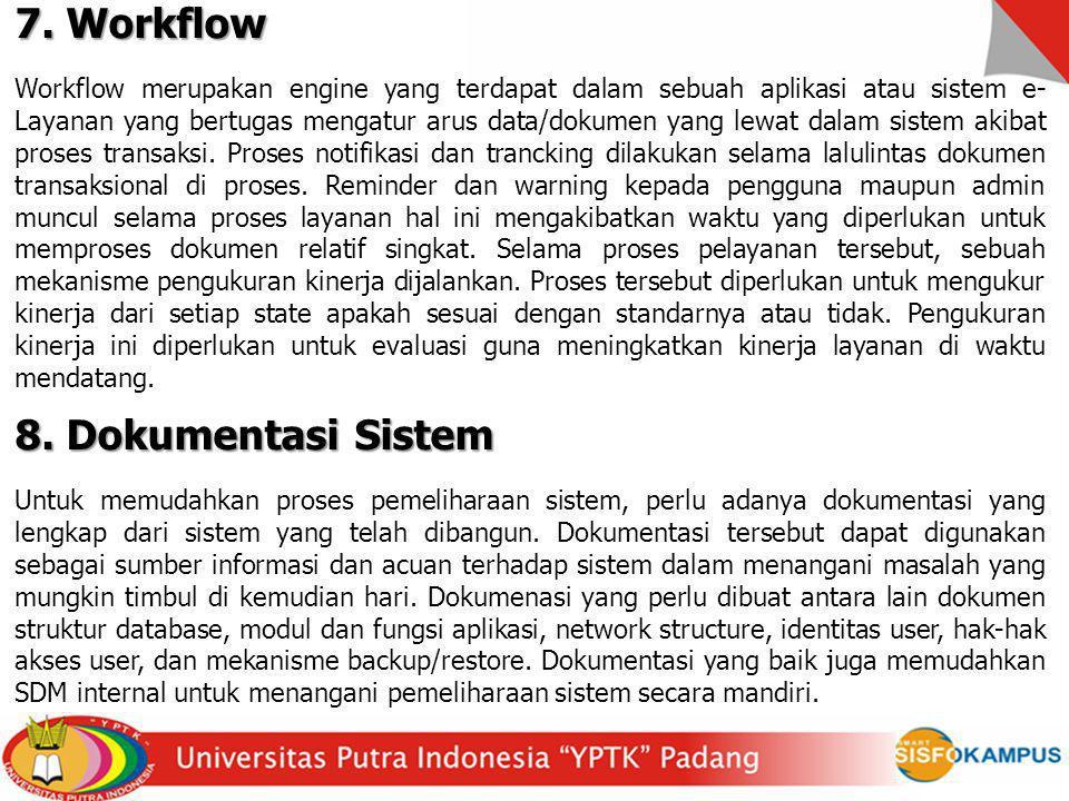 7. Workflow 8. Dokumentasi Sistem