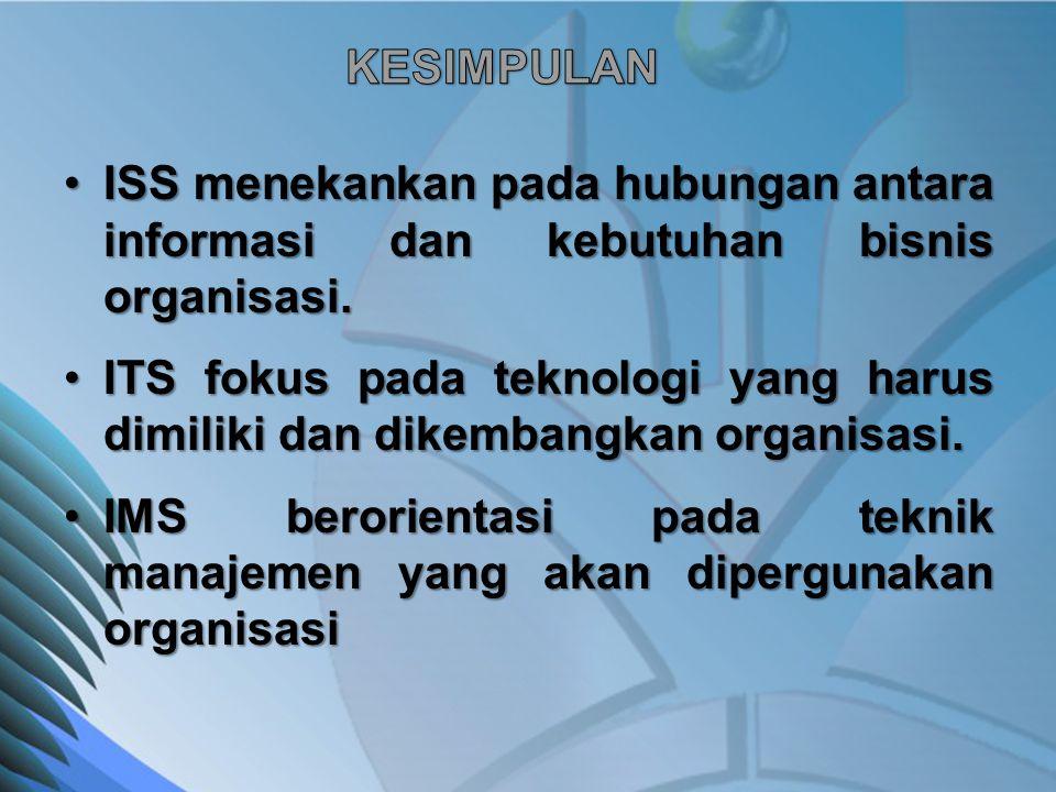 KESIMPULAN ISS menekankan pada hubungan antara informasi dan kebutuhan bisnis organisasi.