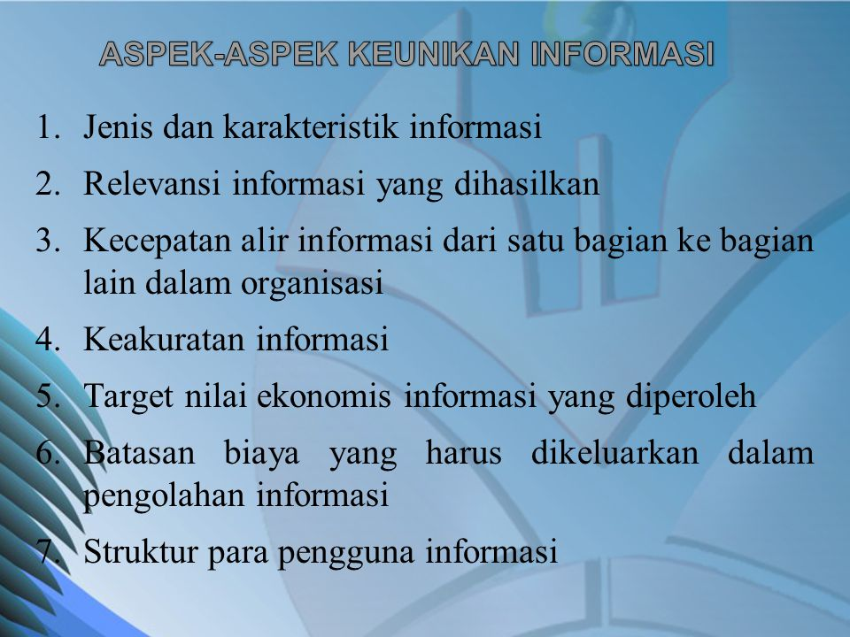 ASPEK-ASPEK KEUNIKAN INFORMASI
