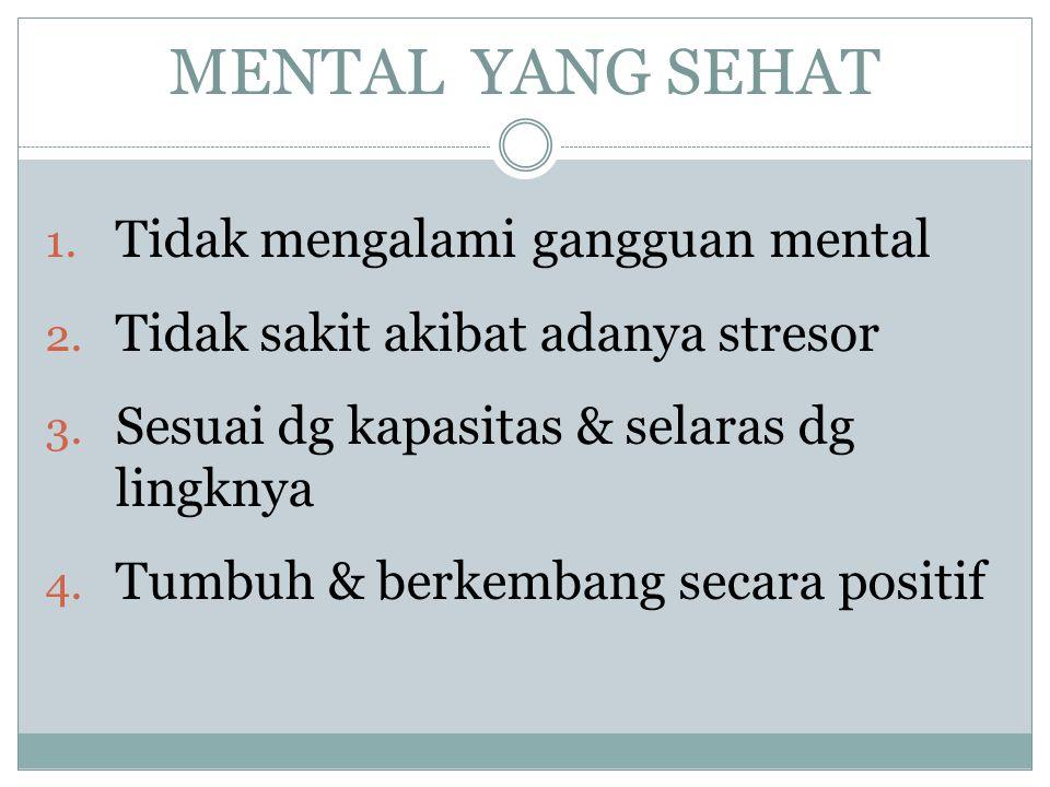 MENTAL YANG SEHAT Tidak mengalami gangguan mental