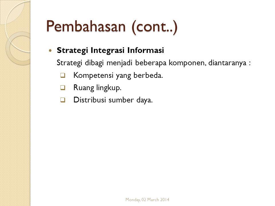 Pembahasan (cont..) Strategi Integrasi Informasi