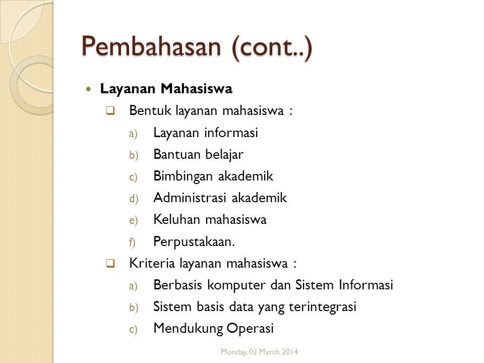 Pembahasan (cont..) Layanan Mahasiswa Bentuk layanan mahasiswa :