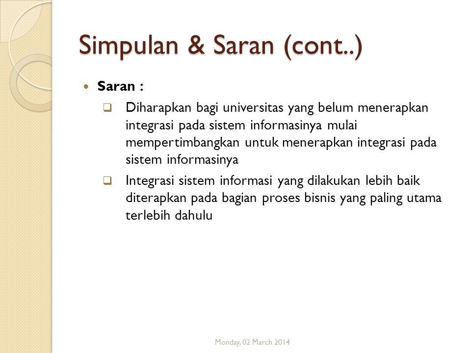 Simpulan & Saran (cont..)