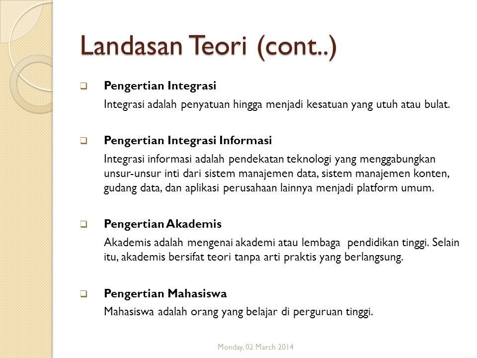 Landasan Teori (cont..) Pengertian Integrasi