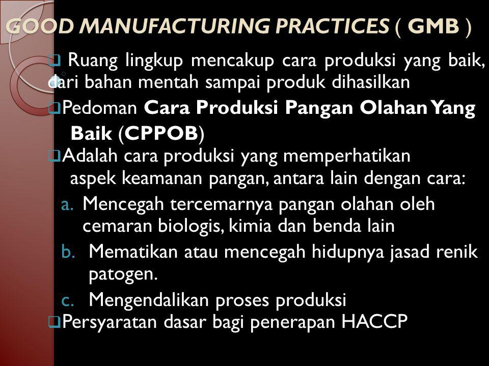 GOOD MANUFACTURING PRACTICES ( GMB )