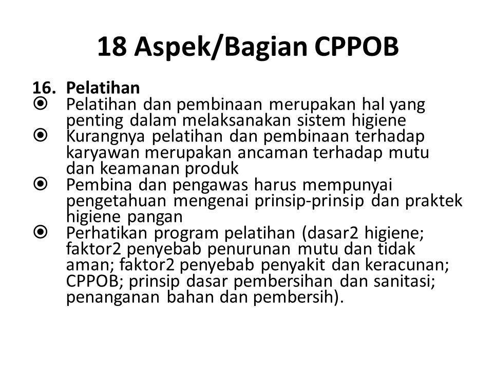 18 Aspek/Bagian CPPOB Pelatihan