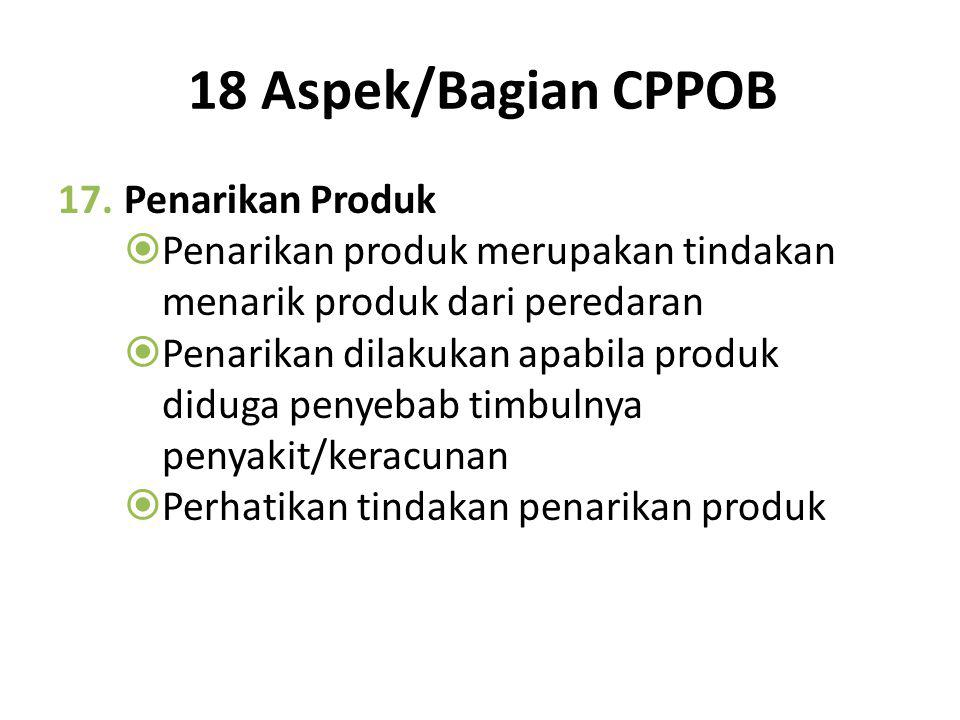 18 Aspek/Bagian CPPOB Penarikan Produk