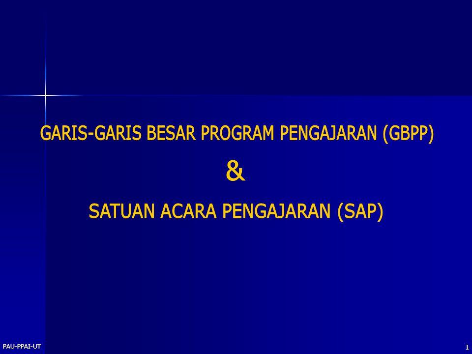 GARIS-GARIS BESAR PROGRAM PENGAJARAN (GBPP) &
