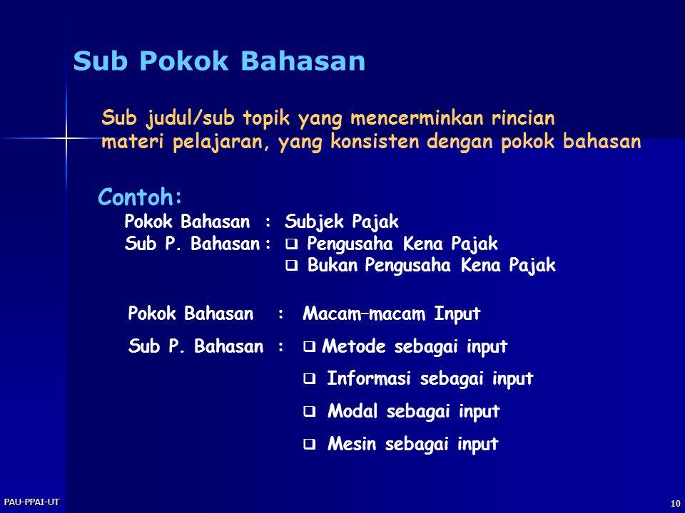 Sub Pokok Bahasan Contoh: