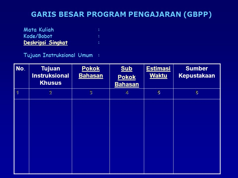 GARIS BESAR PROGRAM PENGAJARAN (GBPP) Tujuan Instruksional Khusus