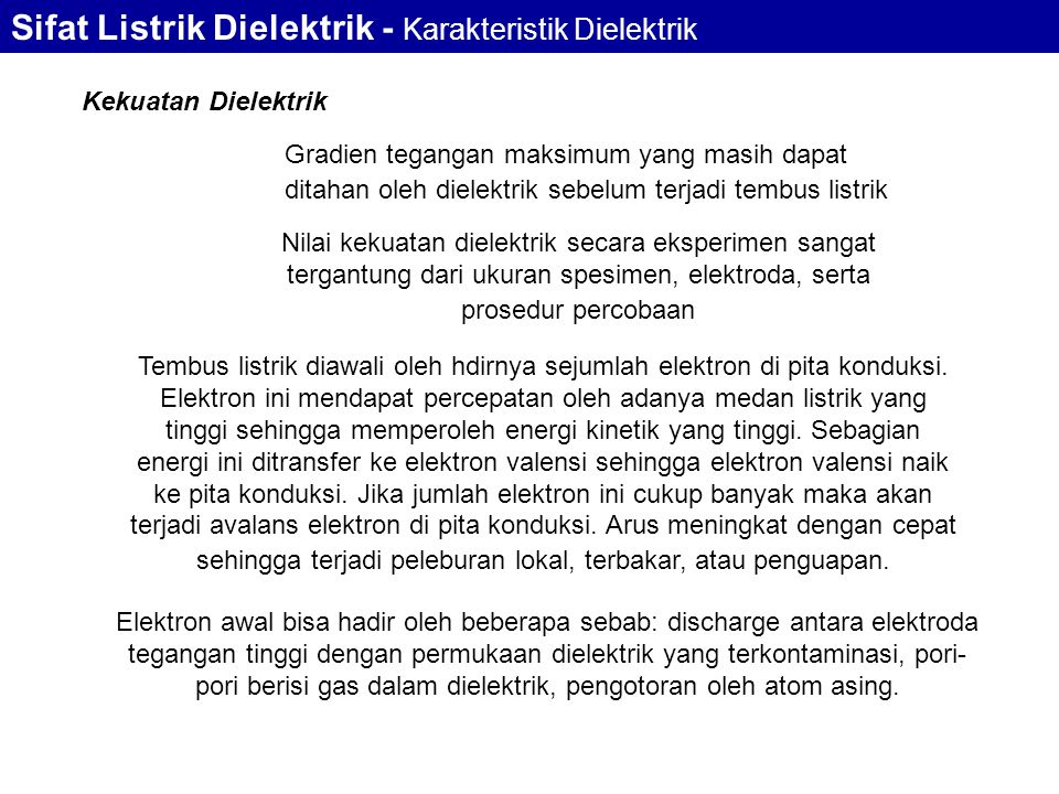 Sifat Listrik Dielektrik - Karakteristik Dielektrik