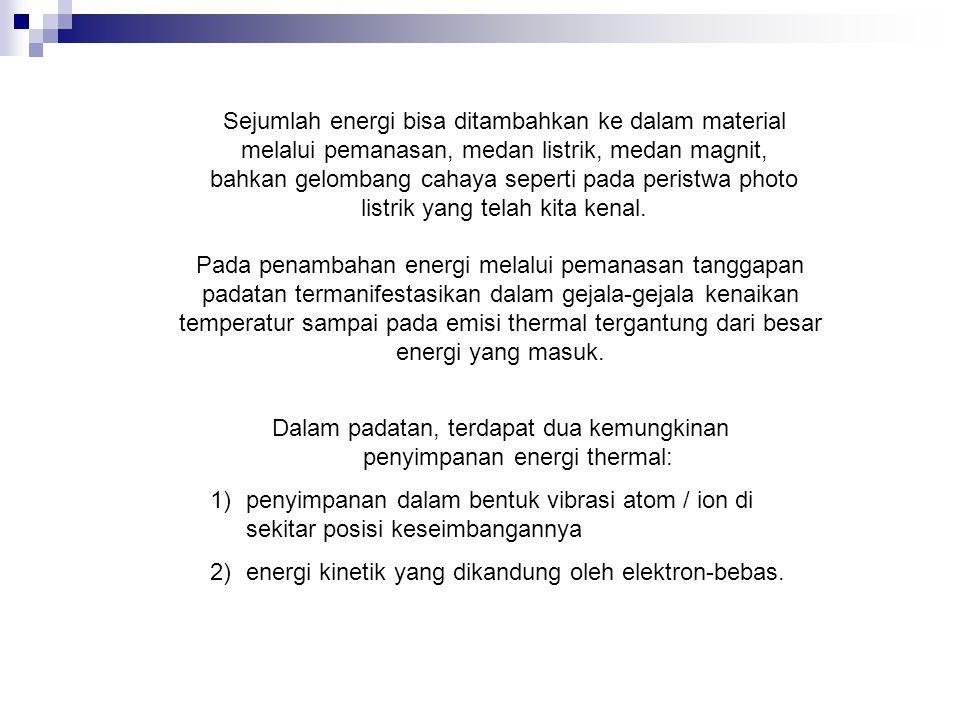 Dalam padatan, terdapat dua kemungkinan penyimpanan energi thermal:
