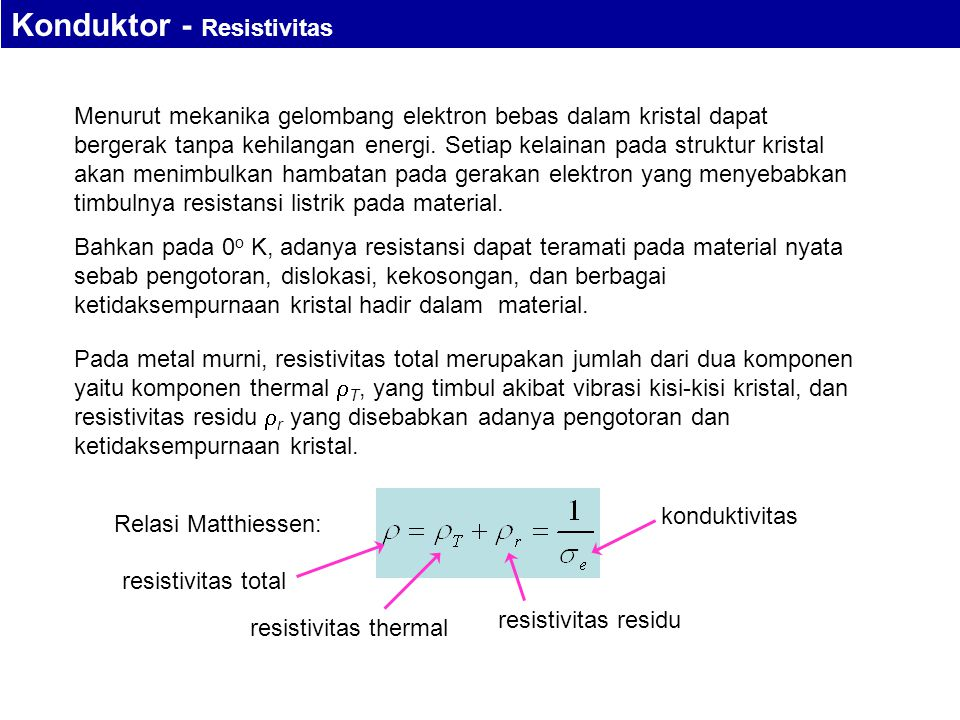 Konduktor - Resistivitas