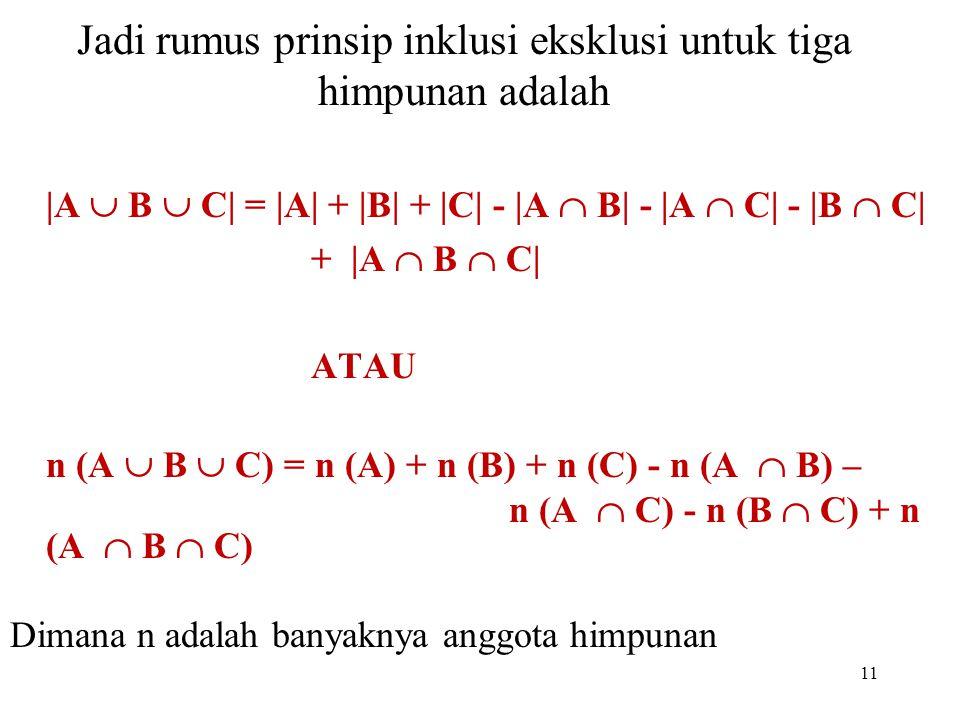 Jadi rumus prinsip inklusi eksklusi untuk tiga himpunan adalah