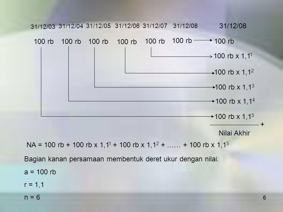 NA = 100 rb + 100 rb x 1,11 + 100 rb x 1,12 + …… + 100 rb x 1,15